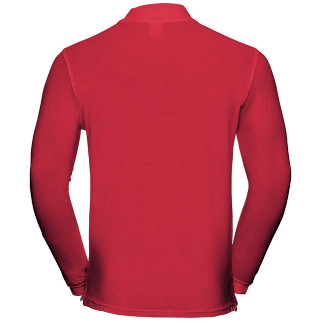 Classic Red - Back - Russell Europe Mens Long Sleeve Classic Cotton Polo Shirt
