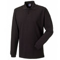 Black - Front - Russell Europe Mens Long Sleeve Classic Cotton Polo Shirt