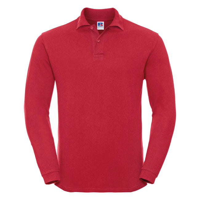Classic Red - Front - Russell Europe Mens Long Sleeve Classic Cotton Polo Shirt