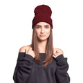 Maroon - Back - Yupoong Flexfit Unisex Heavyweight Long Beanie Winter Hat