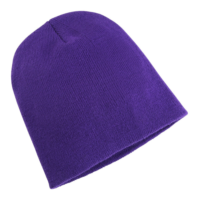 Purple - Front - Yupoong Flexfit Unisex Heavyweight Long Beanie Winter Hat
