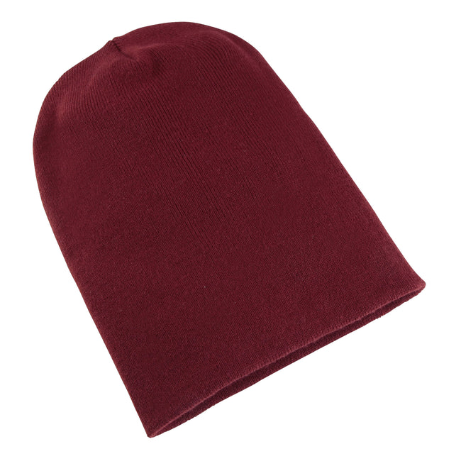 Maroon - Front - Yupoong Flexfit Unisex Heavyweight Long Beanie Winter Hat