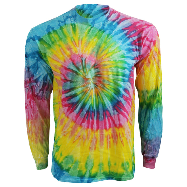 Saturn - Front - Colortone Adults Unisex Long Sleeve Tie-Dye T-Shirt