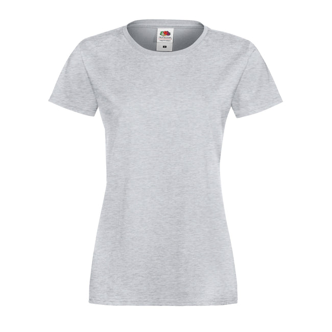 Heather Gray - Front - Fruit Of The Loom Womens Lady-Fit Sofspun Short Sleeve T-Shirt