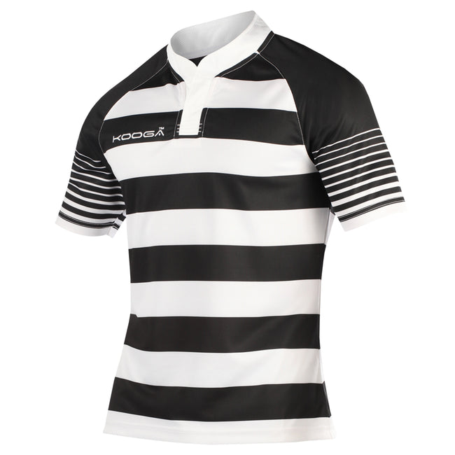 Black-White - Front - KooGa Childrens-Kids Big Boys Junior Touchline Hooped Match Rugby Shirt