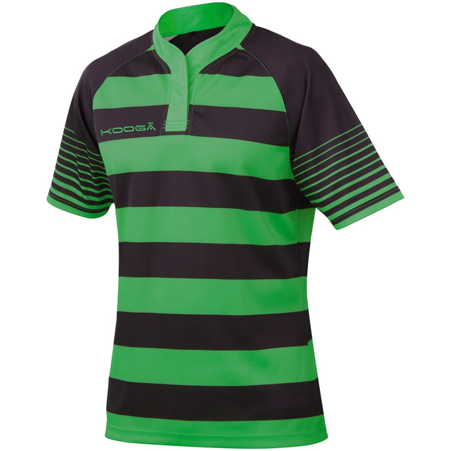Black - Emerald Green - Front - KooGa Childrens-Kids Big Boys Junior Touchline Hooped Match Rugby Shirt
