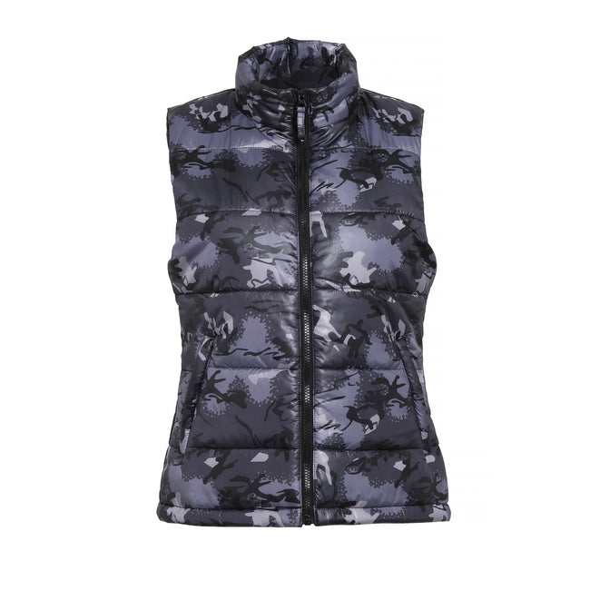 Camo Grey - Front - 2786 Womens-Ladies Padded Bodywarmer-Gilet Jacket