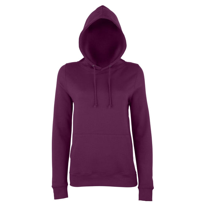 Plum - Front - AWDis Just Hoods Womens-Ladies Girlie College Pullover Hoodie