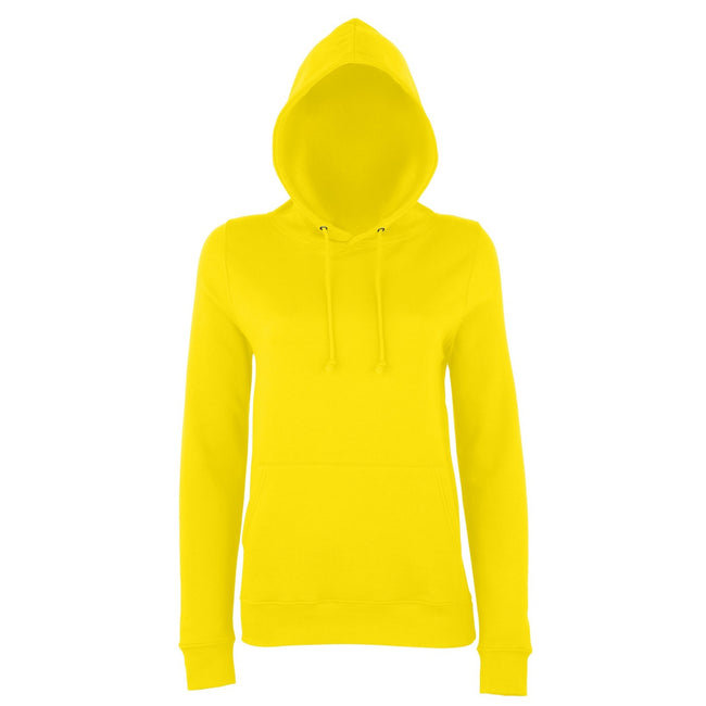 Sun Yellow - Front - AWDis Just Hoods Womens-Ladies Girlie College Pullover Hoodie