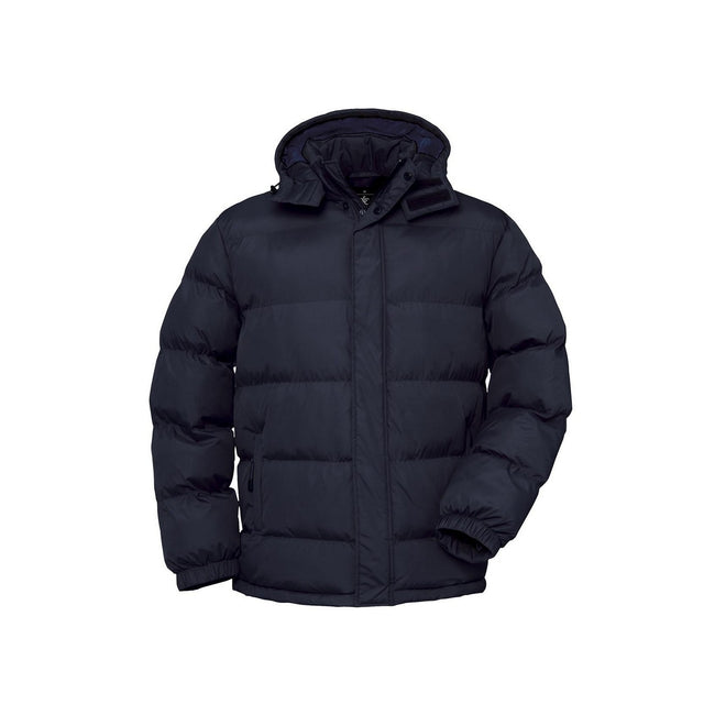 Navy - Front - B&C Mens Cocoon Padded Hooded Full Zip Jacket