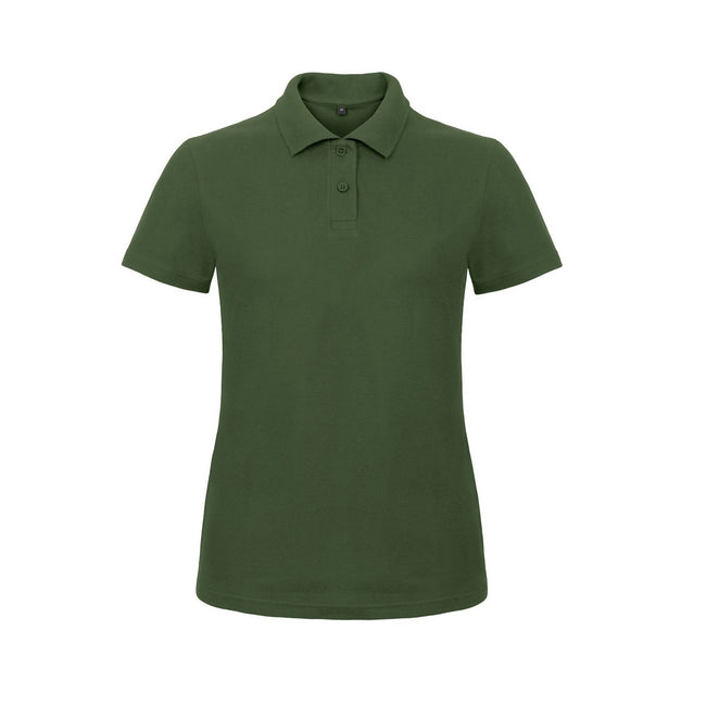 Heather Grey - Front - B&C Womens-Ladies ID.001 Plain Short Sleeve Polo Shirt