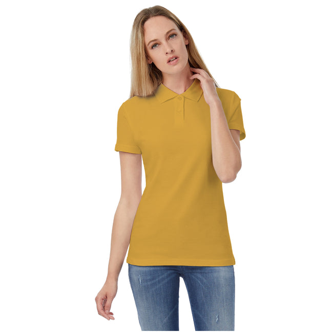 Real Green - Front - B&C Womens-Ladies ID.001 Plain Short Sleeve Polo Shirt