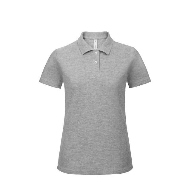 Red - Front - B&C Womens-Ladies ID.001 Plain Short Sleeve Polo Shirt