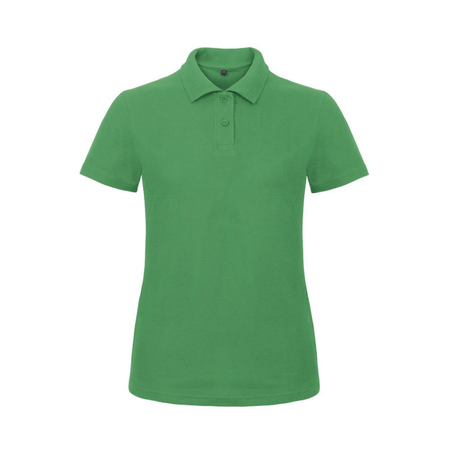 Pixel Coral - Front - B&C Womens-Ladies ID.001 Plain Short Sleeve Polo Shirt