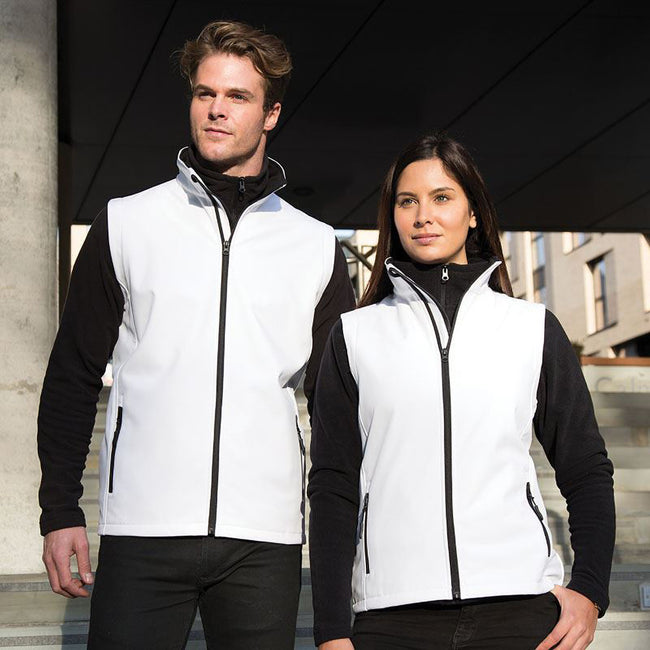 White - Black - Front - Result Core Womens-Ladies Printable Softshell Bodywarmer