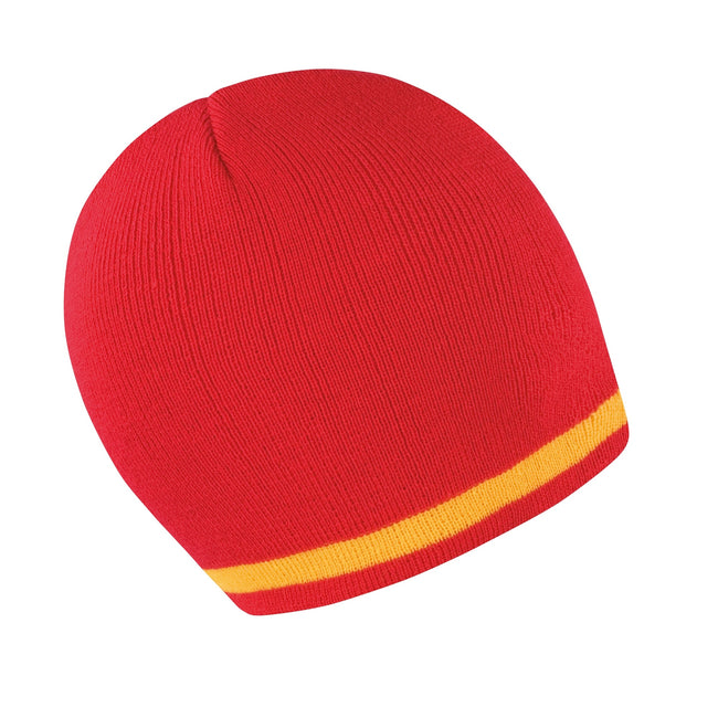 Red - Yellow - Front - Result Unisex Winter Essentials National Beanie Hat