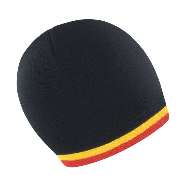 Black - Yellow - Red - Front - Result Unisex Winter Essentials National Beanie Hat