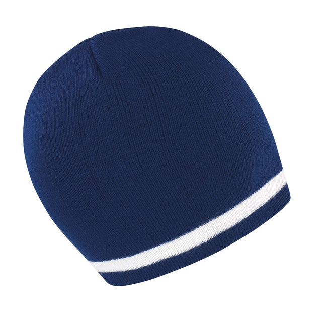 Navy - White - Front - Result Unisex Winter Essentials National Beanie Hat