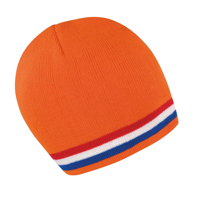 Orange - Red - White - Blue - Front - Result Unisex Winter Essentials National Beanie Hat