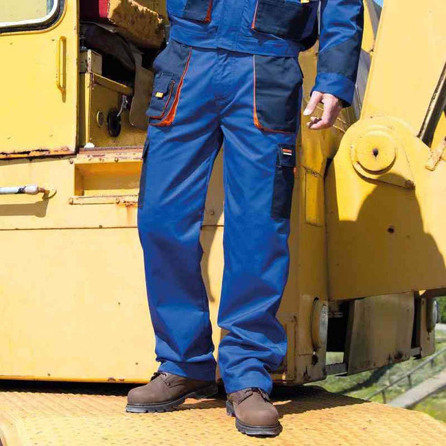 Royal - Navy - Orange - Back - Result Unisex Work-Guard Lite Workwear Trousers (Breathable And Windproof)