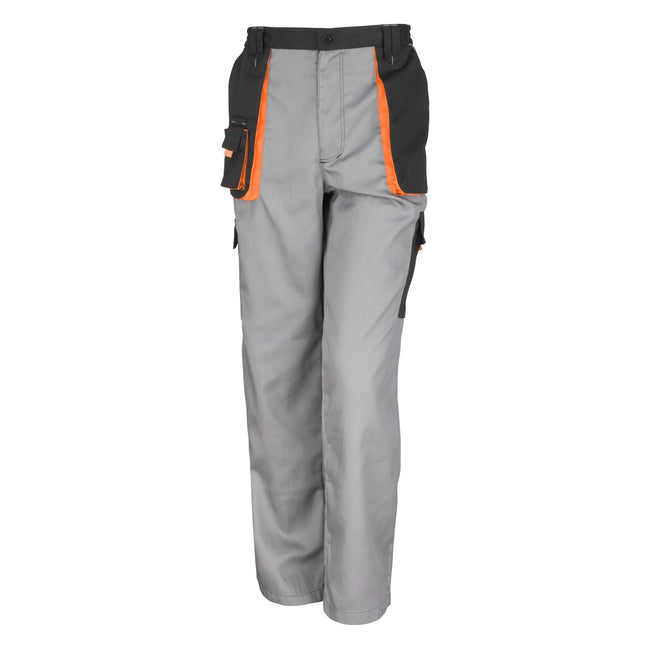 Grey - Black - Orange - Front - Result Unisex Work-Guard Lite Workwear Trousers (Breathable And Windproof)