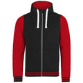 Jet Black-Fire Red - Front - AWDis Just Hoods Adults Unisex Urban Varsity Full Zip Hoodie