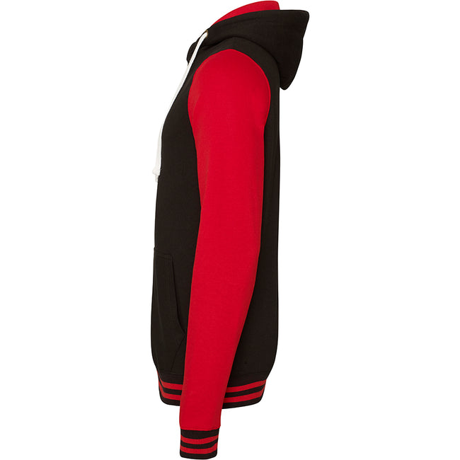 Jet Black-Fire Red - Side - AWDis Just Hoods Adults Unisex Urban Varsity Full Zip Hoodie