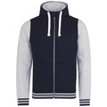 Oxford Navy- Heather Gray - Front - AWDis Just Hoods Adults Unisex Urban Varsity Full Zip Hoodie