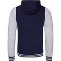 Oxford Navy- Heather Gray - Back - AWDis Just Hoods Adults Unisex Urban Varsity Full Zip Hoodie