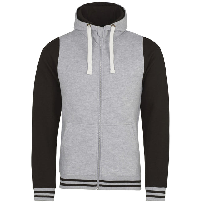 Heather Gray-Jet Black - Front - AWDis Just Hoods Adults Unisex Urban Varsity Full Zip Hoodie