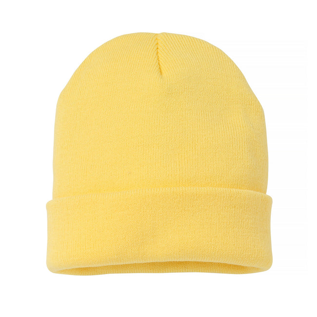 Lemon - Front - Nutshell Adults Unisex Knitted Turn-Up Beanie