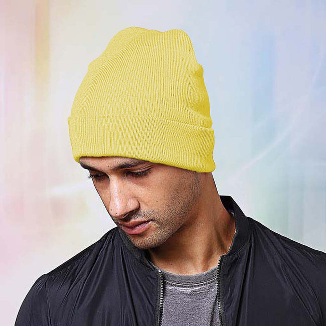 Lemon - Back - Nutshell Adults Unisex Knitted Turn-Up Beanie