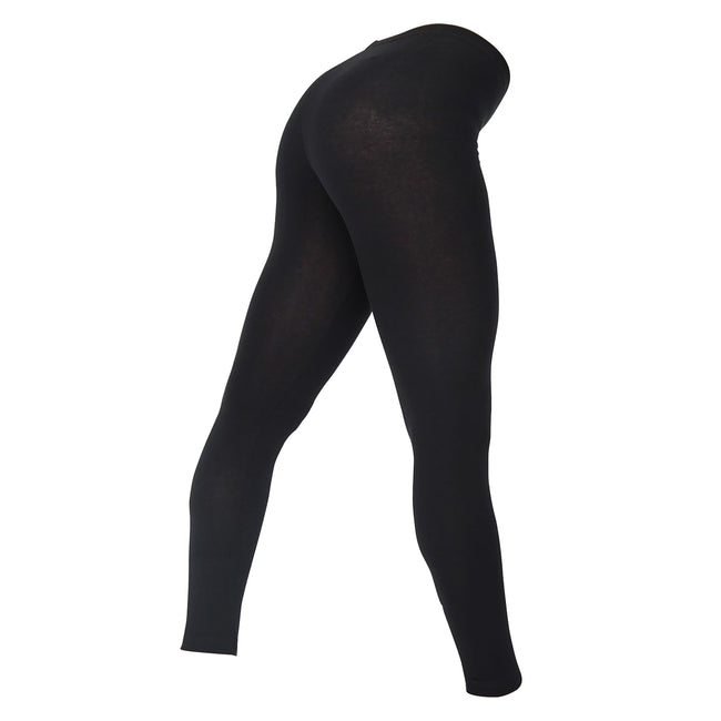 Black - Front - American Apparel Womens-Ladies Cotton Spandex Jersey Leggings