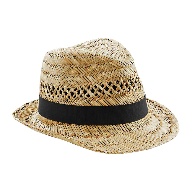 Natural - Front - Beechfield Unisex Straw Summer Trilby Hat
