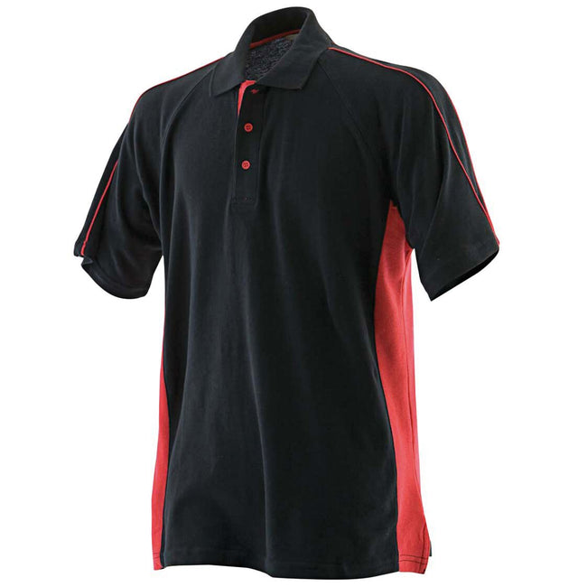 Black-Red - Front - Finden & Hales Mens Sports Polo T-Shirt