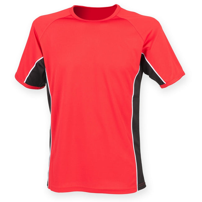 Red- Black- White - Front - Finden & Hales Mens Short Sleeve Performance Panel Sports T-Shirt
