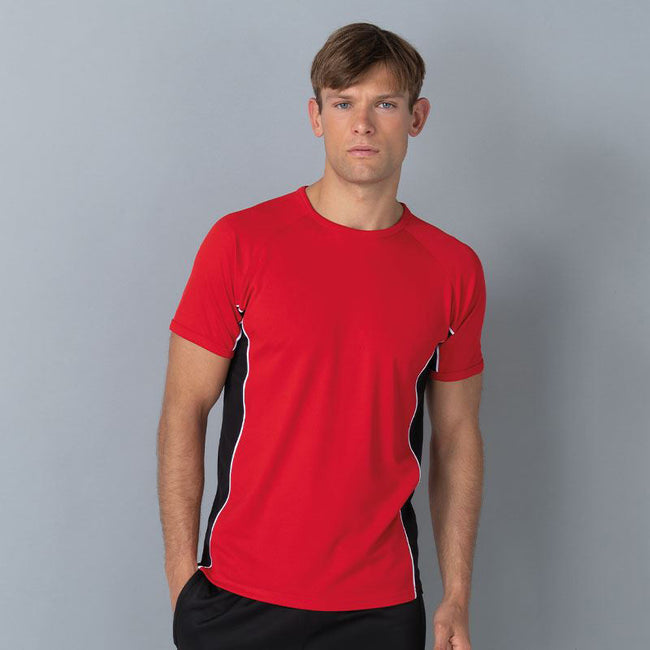 Red- Black- White - Back - Finden & Hales Mens Short Sleeve Performance Panel Sports T-Shirt