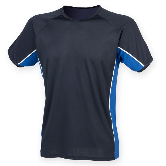 Navy- Royal- White - Front - Finden & Hales Mens Short Sleeve Performance Panel Sports T-Shirt