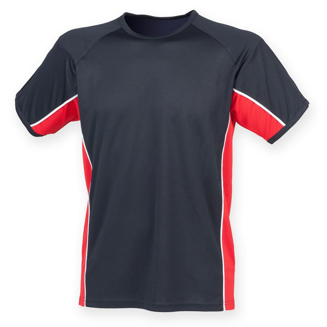 Navy- Red- White - Front - Finden & Hales Mens Short Sleeve Performance Panel Sports T-Shirt