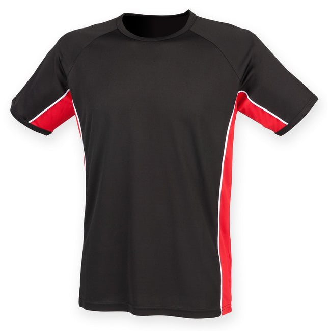 Black- Red- White - Front - Finden & Hales Mens Short Sleeve Performance Panel Sports T-Shirt
