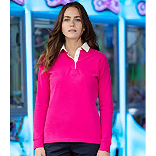 Bright Pink - Back - Front Row Womens-Ladies Premium Long Sleeve Rugby Shirt-Top