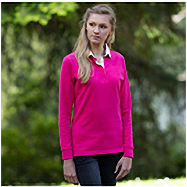 Bright Pink - Side - Front Row Womens-Ladies Premium Long Sleeve Rugby Shirt-Top