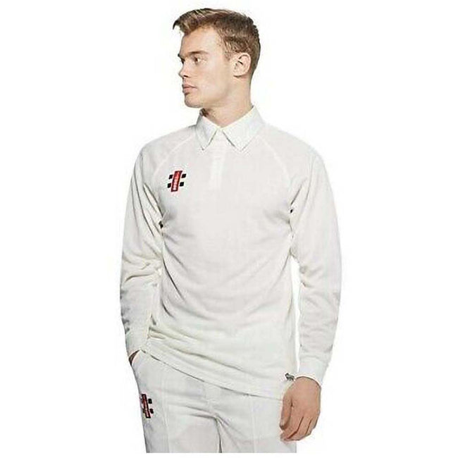Ivory - Back - Gray-Nicolls Big Boys Childrens-Kids Matrix Long Sleeve Cricket Shirt