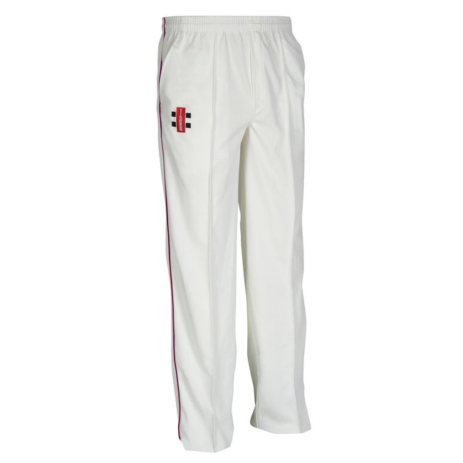 Ivory- Maroon - Front - Gray-Nicolls Children-Kids Matrix Cricket Trousers