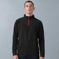 Black-Red - Back - Finden & Hales Mens 1-4 Zip Long Sleeve Piped Fleece Top