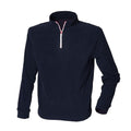 Navy-White - Front - Finden & Hales Mens 1-4 Zip Long Sleeve Piped Fleece Top
