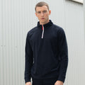 Navy-White - Back - Finden & Hales Mens 1-4 Zip Long Sleeve Piped Fleece Top