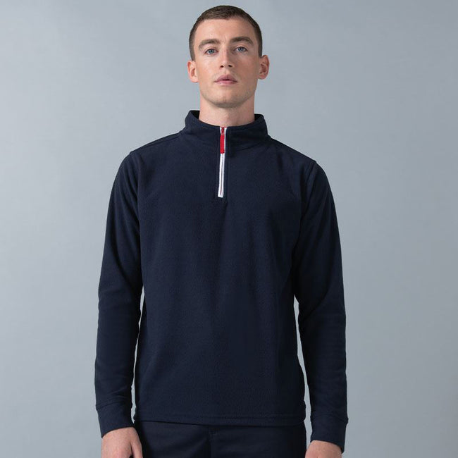 Navy-White - Side - Finden & Hales Mens 1-4 Zip Long Sleeve Piped Fleece Top