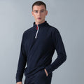 Navy-White - Lifestyle - Finden & Hales Mens 1-4 Zip Long Sleeve Piped Fleece Top