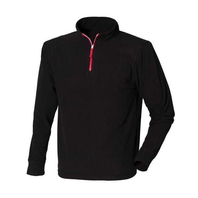 Black-Red - Front - Finden & Hales Mens 1-4 Zip Long Sleeve Piped Fleece Top